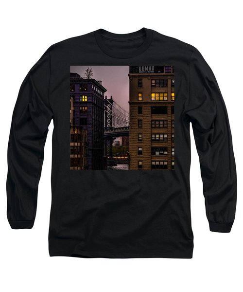 Long Sleeve T-Shirt featuring the photograph Evening In Dumbo by Chris Lord