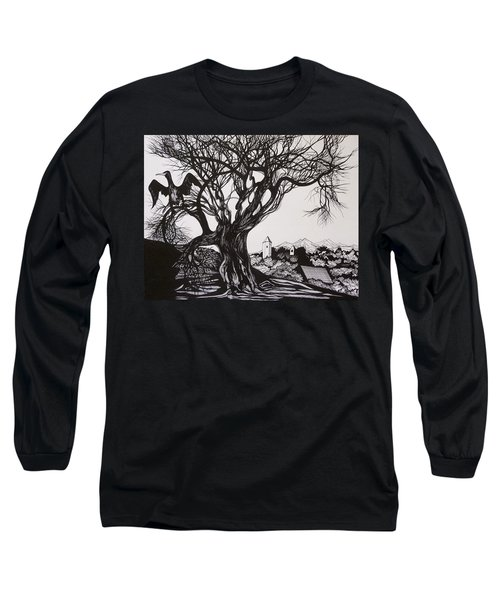 Long Sleeve T-Shirt featuring the drawing Evening In Midnapore by Anna  Duyunova