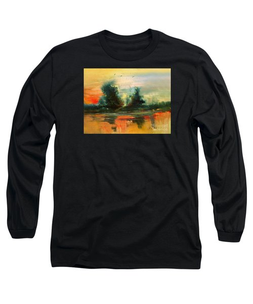 Long Sleeve T-Shirt featuring the painting Evening Light by Allison Ashton