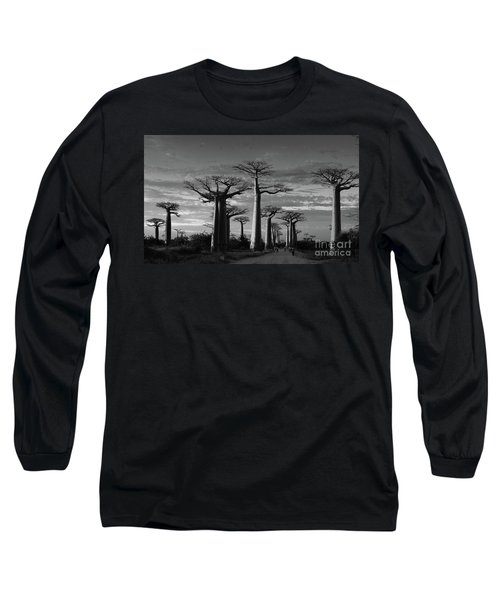 evening under the baobabs of Madagascar bw Long Sleeve T-Shirt