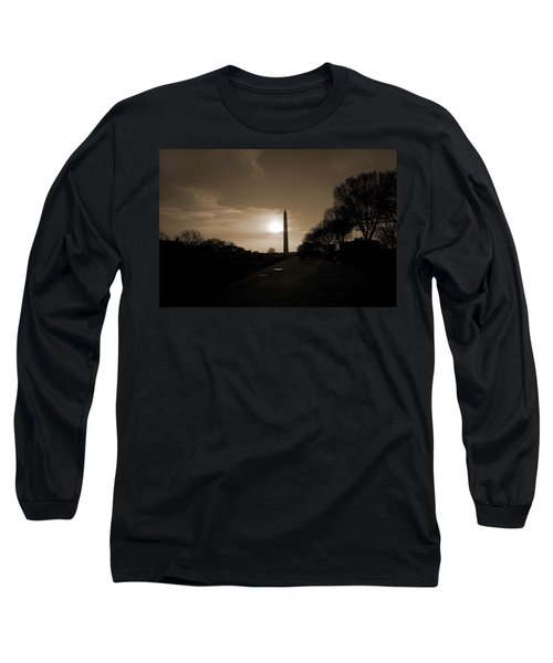 Evening Washington Monument Silhouette Long Sleeve T-Shirt by Betsy Knapp