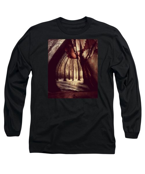 Long Sleeve T-Shirt featuring the digital art Evie Regrets by Delight Worthyn