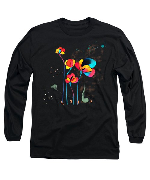 Exotic Watercolor Flower Long Sleeve T-Shirt