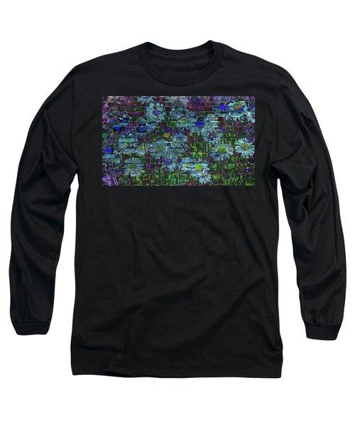 Extraordinary Blue Daisies Graffiti On A Brick Wall Long Sleeve T-Shirt