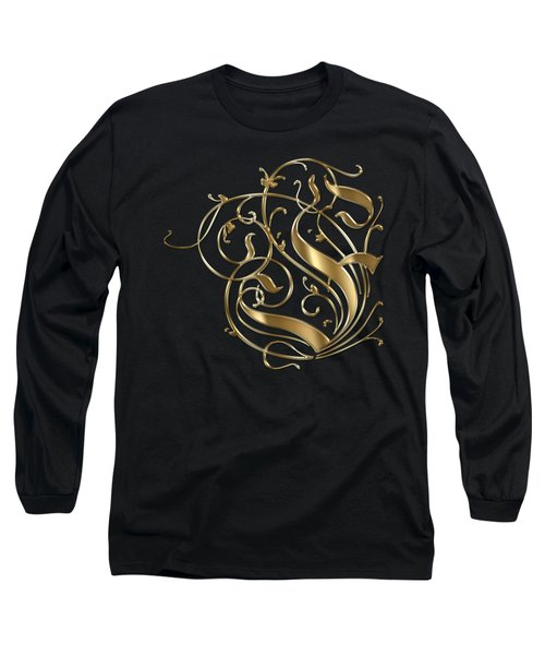 F Ornamental Letter Gold Typography Long Sleeve T-Shirt by Georgeta Blanaru