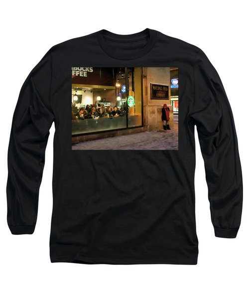 Long Sleeve T-Shirt featuring the digital art Faces At The Coffeehouse by Chris Flees