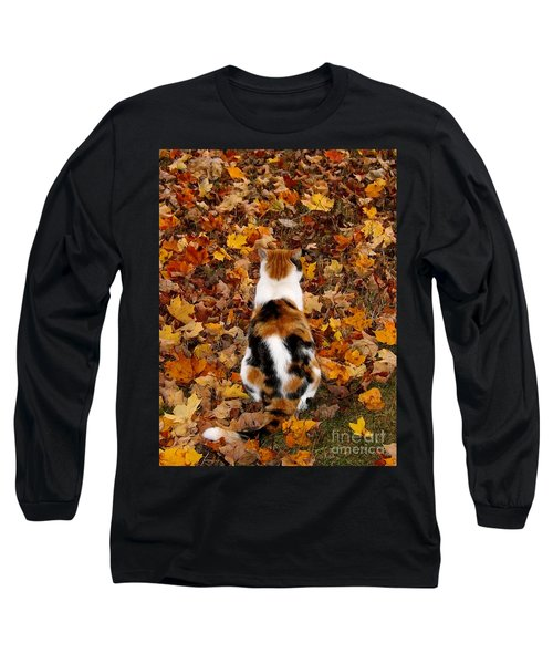 Fall Catitude  Long Sleeve T-Shirt by Christy Ricafrente