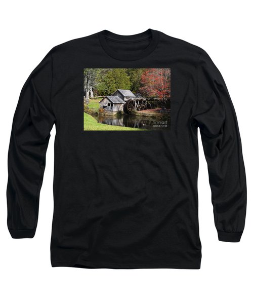 Fall Colors At Mabry Mill Blue Ridge Parkway Long Sleeve T-Shirt by Nature Scapes Fine Art
