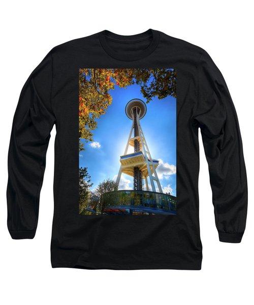 Fall Day At The Space Needle Long Sleeve T-Shirt by David Patterson