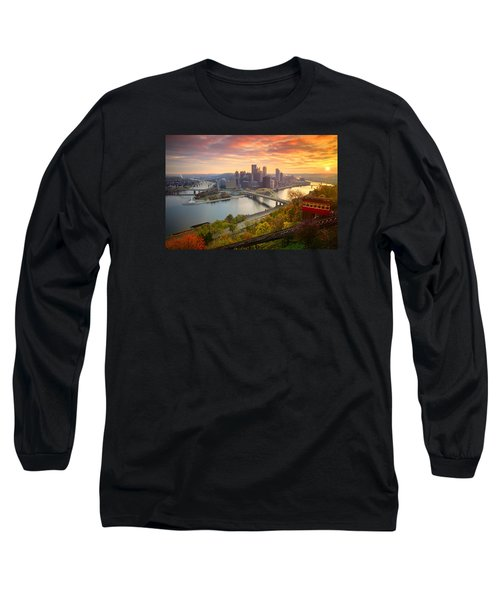 Fall Pittsburgh Skyline  Long Sleeve T-Shirt by Emmanuel Panagiotakis