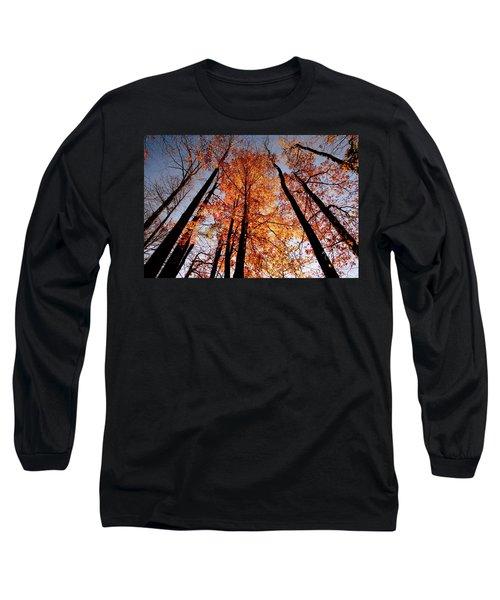 Fall Trees Sky Long Sleeve T-Shirt by Meta Gatschenberger