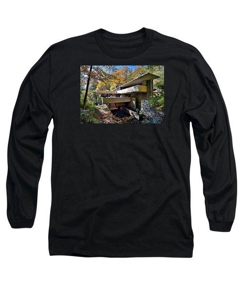 Fallingwater Pennsylvania - Frank Lloyd Wright Long Sleeve T-Shirt by Brendan Reals
