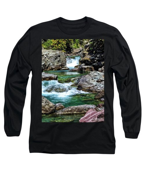 Falls Above Lake Mc Donald Long Sleeve T-Shirt