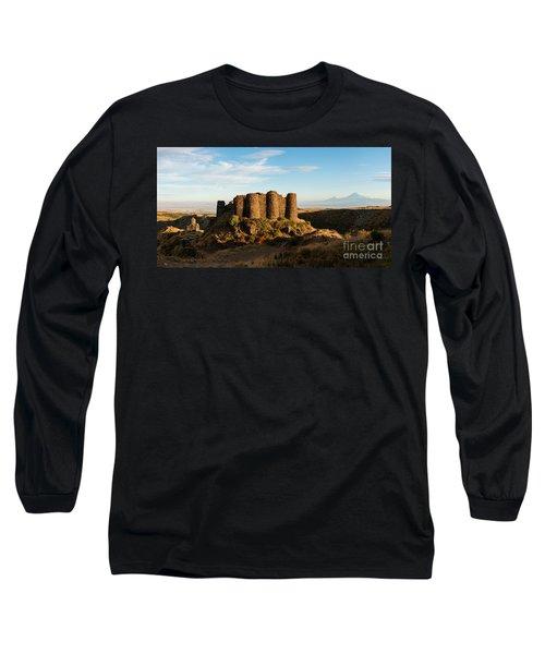 Famous Amberd Fortress With Mount Ararat At Back, Armenia Long Sleeve T-Shirt by Gurgen Bakhshetsyan