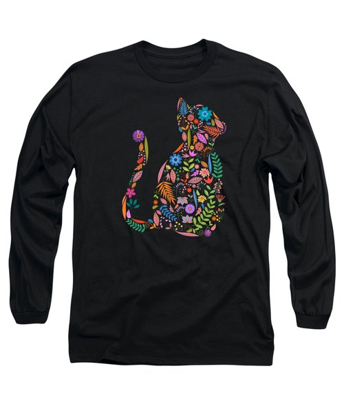 Fancy And Fine Flower Cat Garden Design Long Sleeve T-Shirt