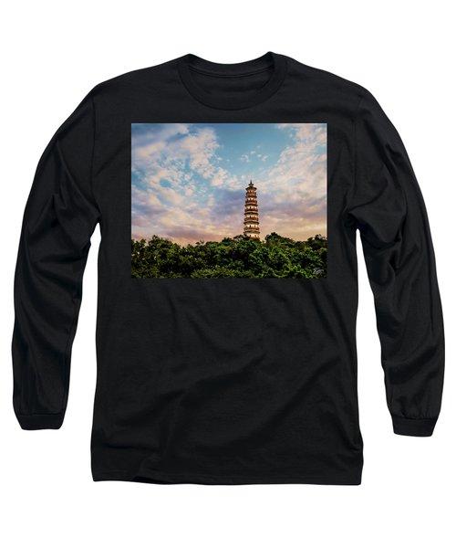 Far Distant Pagoda Long Sleeve T-Shirt