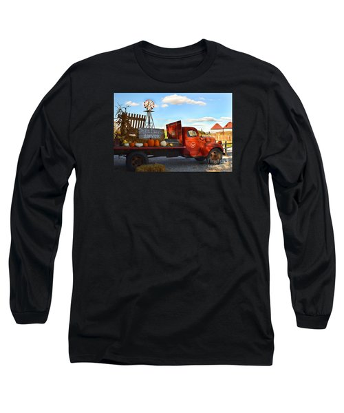 Farm With Red Truck In Fall  Long Sleeve T-Shirt