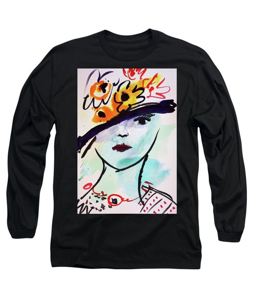 Fashion, Vintage Hat With Flowers Long Sleeve T-Shirt by Amara Dacer