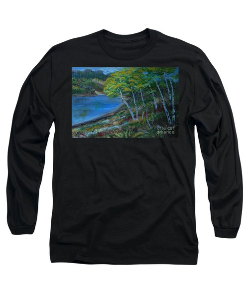 Long Sleeve T-Shirt featuring the painting Favorite Fishin' Hole by Leslie Allen