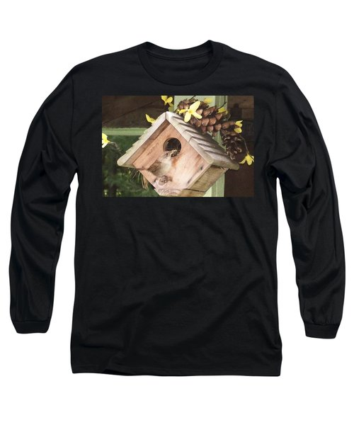 Long Sleeve T-Shirt featuring the digital art Feeding Birds by Barbara S Nickerson