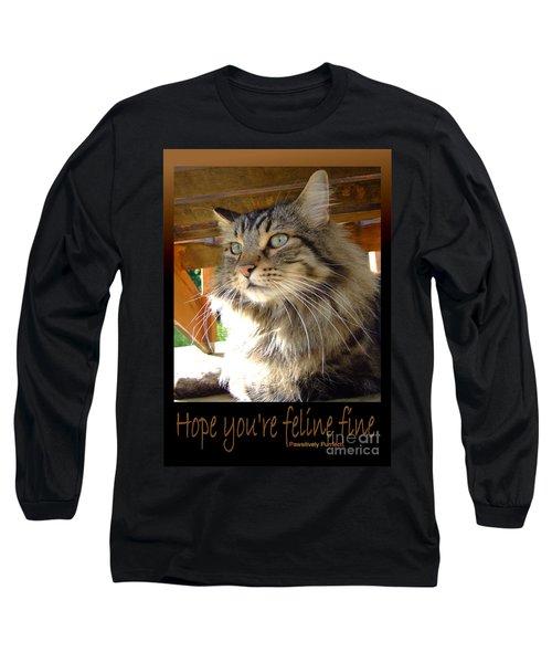 Long Sleeve T-Shirt featuring the photograph Feline Fine by Marianne NANA Betts