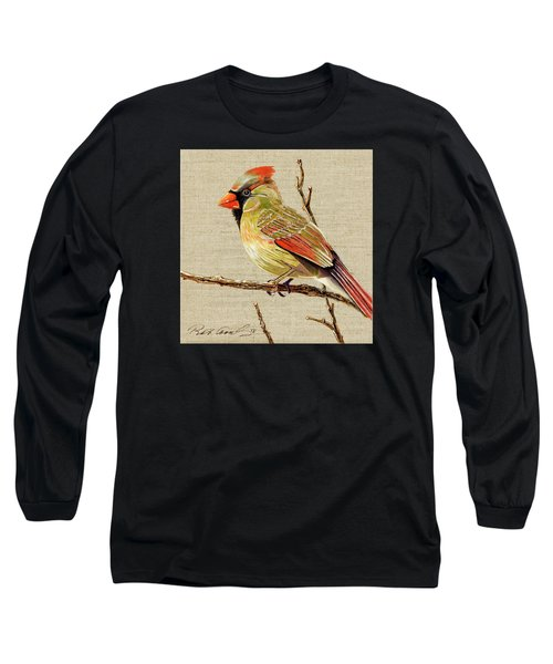 Long Sleeve T-Shirt featuring the painting Female Cardinal by Bob Coonts