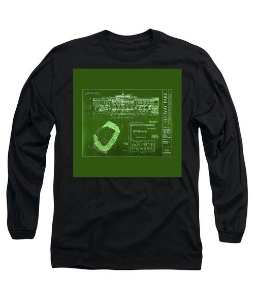 Fenway Park Blueprints Home Of Baseball Team Boston Red Sox Long Sleeve T-Shirt