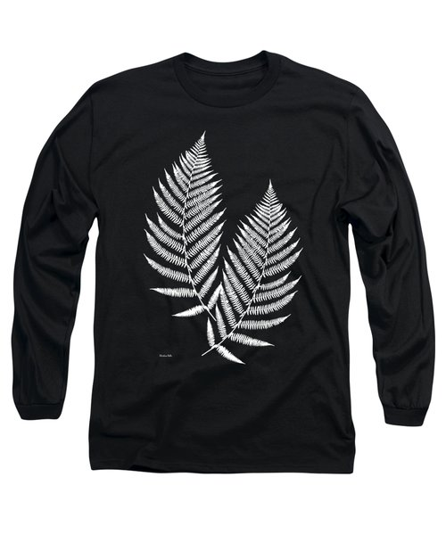 Long Sleeve T-Shirt featuring the mixed media Fern Pattern Black And White by Christina Rollo