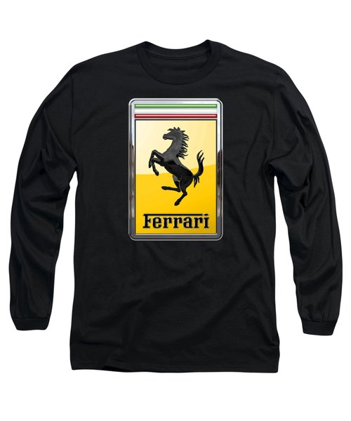 Ferrari - 3 D Badge On Black Long Sleeve T-Shirt by Serge Averbukh