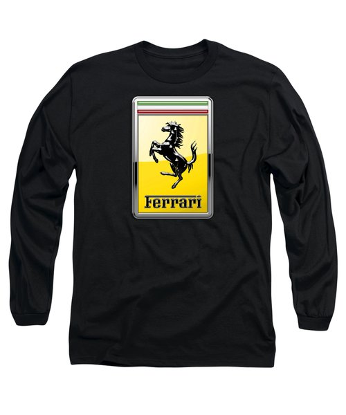 Ferrari 3d Badge- Hood Ornament On Black Long Sleeve T-Shirt by Serge Averbukh