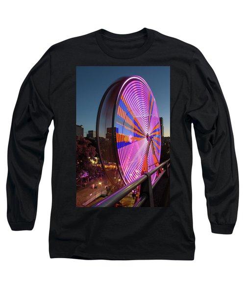 Ferris Wheel At Fun Fair In Downtown Portland Oregon Long Sleeve T-Shirt
