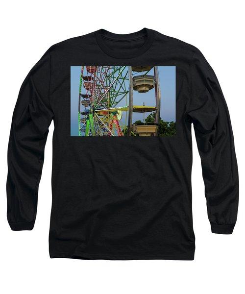Ferris Wheel Lights At Dusk Closeup Long Sleeve T-Shirt