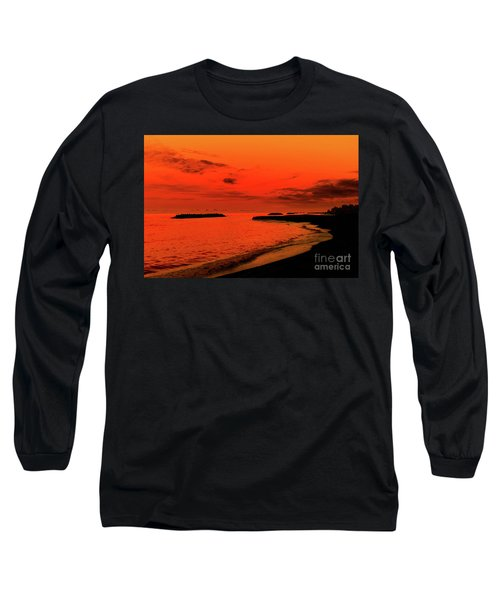 Long Sleeve T-Shirt featuring the photograph Fiery Lake Sunset by Randy Steele