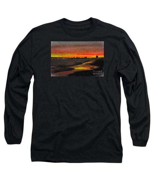 Long Sleeve T-Shirt featuring the digital art Fiery Sunset by Mariola Bitner