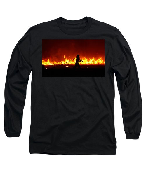 Fighting The Fire Long Sleeve T-Shirt by Linda Unger