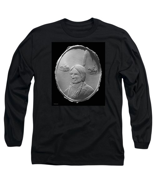 Long Sleeve T-Shirt featuring the relief Fingernail Relief Drawing Of American Indian  by Suhas Tavkar