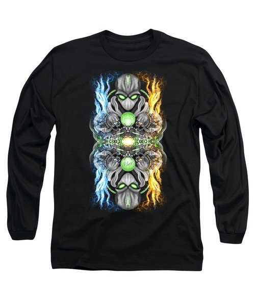 Long Sleeve T-Shirt featuring the painting Fire And Ice Alien Time Machine by Raphael Lopez