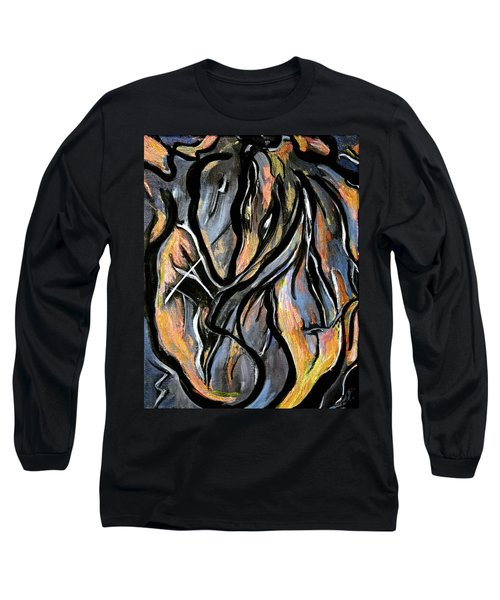 Long Sleeve T-Shirt featuring the painting Fire And Stone by Lynda Lehmann