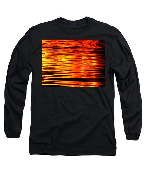 Fire At Night On The Water Long Sleeve T-Shirt
