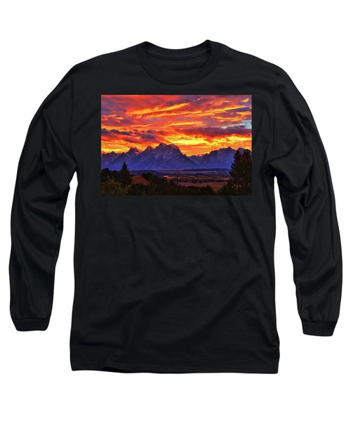 Fire In The Teton Sky Long Sleeve T-Shirt by Greg Norrell