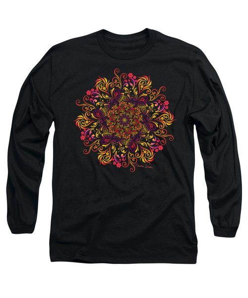 Fire Swirl Flower Long Sleeve T-Shirt
