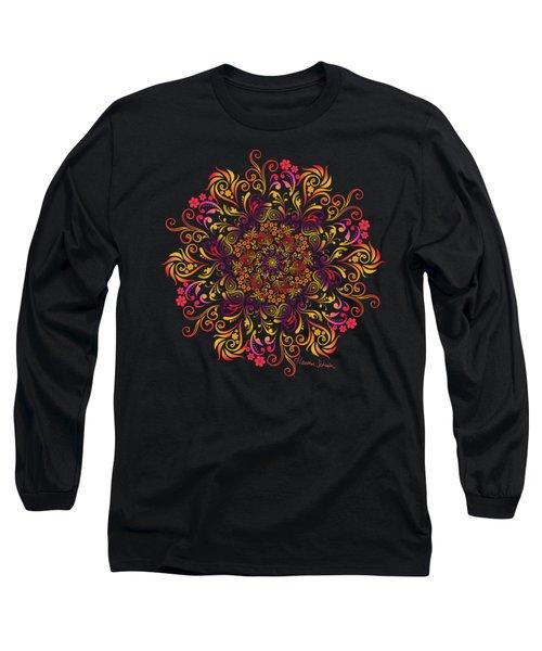 Fire Swirl Flower Long Sleeve T-Shirt