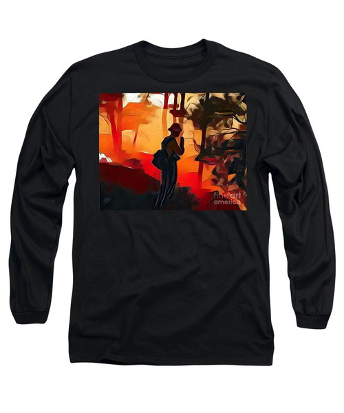Firefighter On White Draw Fire Long Sleeve T-Shirt
