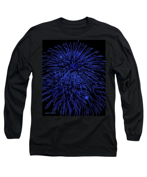 Firework Blues Long Sleeve T-Shirt by DigiArt Diaries by Vicky B Fuller