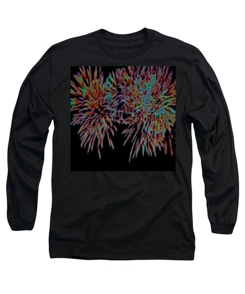 Fireworks Abstract Long Sleeve T-Shirt by Cathy Anderson