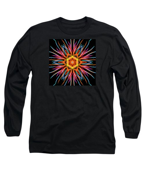 Fireworks Mandala #1 Long Sleeve T-Shirt by Yulia Kazansky