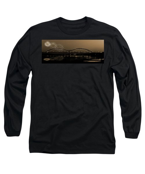 Fireworks Over The Mississippi Long Sleeve T-Shirt by Barry Jones