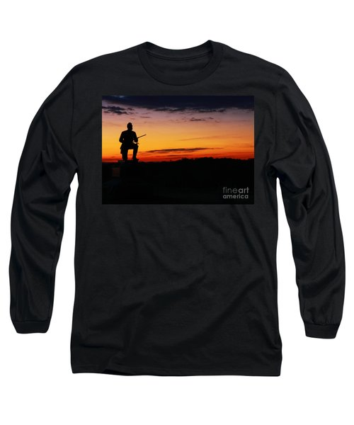 Long Sleeve T-Shirt featuring the photograph First Pennsylvania Cavalry Sunrise Gettysburg by Randy Steele