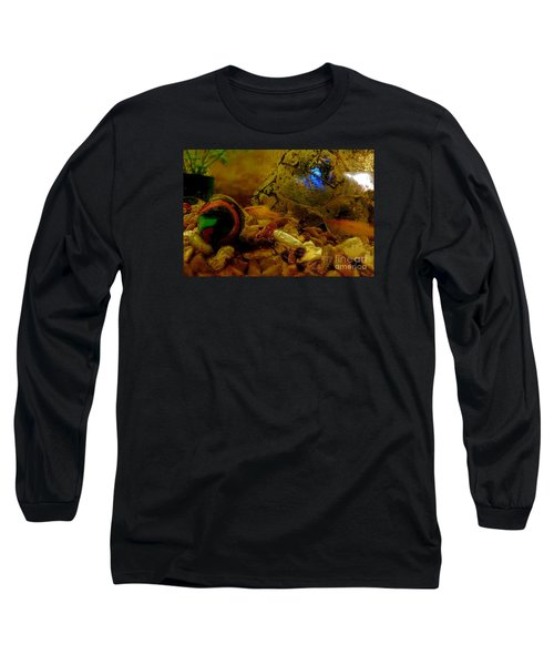 Long Sleeve T-Shirt featuring the photograph Fish Tank Abstract by Cassandra Buckley