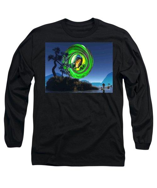 Fish Too Big For Cormorant Long Sleeve T-Shirt by Mojo Mendiola